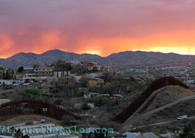 The Arizona-Mexico border wall that separates Nogales, Mexico and Nogales, Arizona